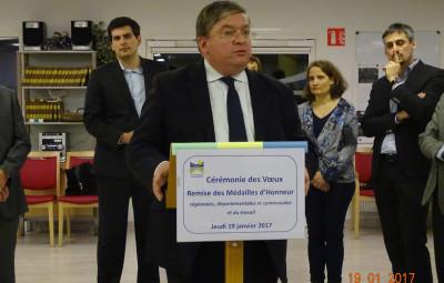 François Vannson aux voeux du centre hospitalier le jeudi 19 janvier 2017. Photographie d'archives.