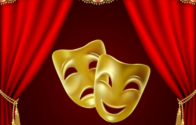 Theatrical mask on a red background. Mesh. Clipping Mask