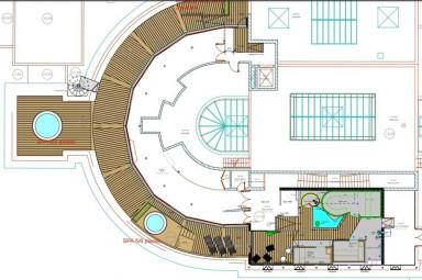 Le plan des travaux de rénovation et d'embellissement de l'espace bien-être (terrasse, sauna, hammam, jacuzzi…) de l'établissement thermal contrexévillois. (plan du cabinet d'architecture Marsal-Rousselot de Vittel).