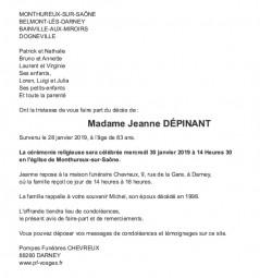 Avis de décès Madame Jeanne Dépinant