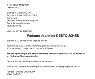 Avis de décès Madame Jeannine Destouches