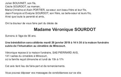 Avis de décès Madame Véronique Sourdot