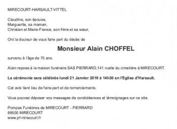 Avis de décès Monsieur Alain CHOFFEL
