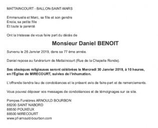 Avis de décès Monsieur Daniel Benoit