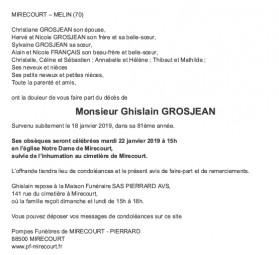 Avis de décès Monsieur Ghislain GROSJEAN