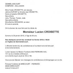Avis de décès Monsieur Lucien Croisette