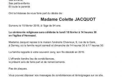 Avis de décès Madame Colette Jacquot