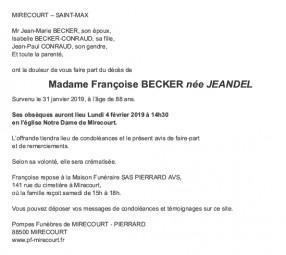 Avis de décès Madame Françoise Becker née Jeandel