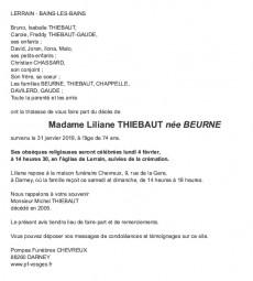 Avis de décès Madame Liliane Thiebaut née Beurne