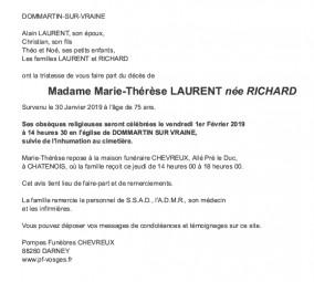 Avis de décès Madame Marie-Thérèse Laurent née Richard