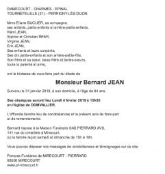 Avis de décès Monsieur Bernard Jean
