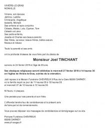 Avis de décès Monsieur Joel Tinchant