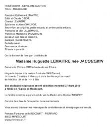 Avis de décès Madame Huguette Lemaître née Jacquemin