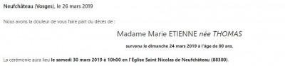 Avis de décès de madame Marie Etienne née Thomas