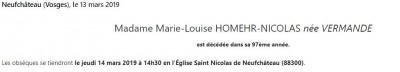 Avis de décès de madame Marie-Louise Homehr-Nicolas née Vermande