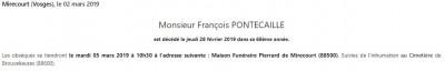 Avis de décès de monsieur François Pontecaille