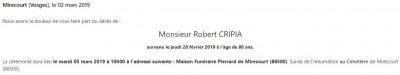 Avis de décès de monsieur Robert Cripia