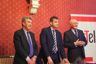 Le président de la fédération française d'athlétisme, André Giraud, le maire de Vittel, Franck Perry et le vice-président du Département, Luc Gerecke. (de g. à dr.)