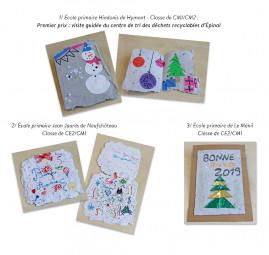 Réalisations de cartes de vœux en papier recyclé.