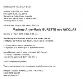 Avis de décès Madame Anne-Marie Burette née Nicolas