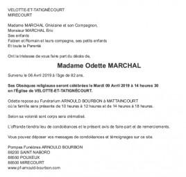 Avis de décès Madame Odette Marchal