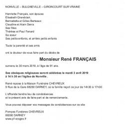 Avis de décès Monsieur René Français