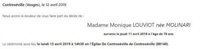 Avis de décès de madame Monique Louviot Née Molinari