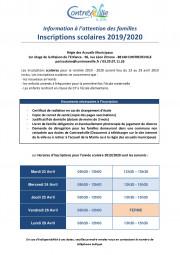 Inscriptions scolaires information famille 2019-2020