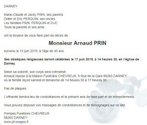 Avis de décès de Monsieur Arnaud Prin