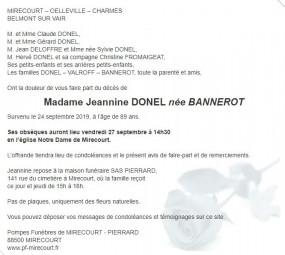 Avis de décès de Madame Jeannine Donel
