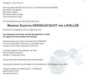 Avis de décès de Madame Suzanne Grandjacquot