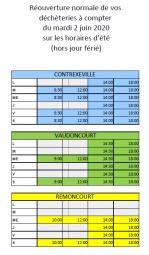 horaires déchèteries 02.06.20
