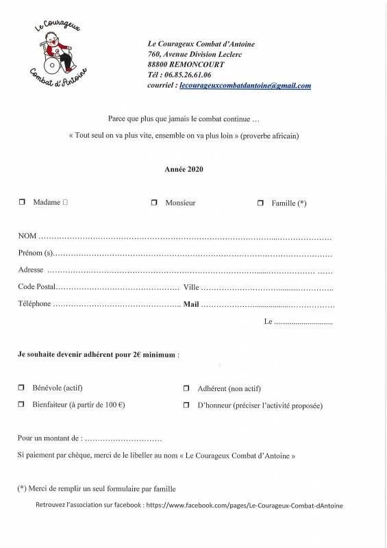 Bulletin d'adhésion 2020